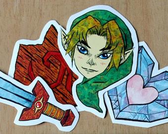 Kokiri Kit - Zelda Gloss Vinyl Sticker Pack Large Stickers Handmade Videogame Link LoZ