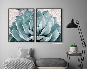 Cactus Photo, Succulent Photography, 2 Piece Wall Art, Botanical Poster, Set Of 2 Prints, Large Printables, Diptych Decor, Digital Download