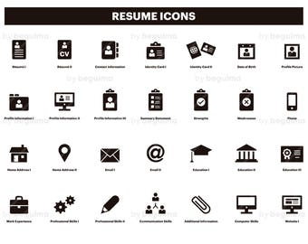 Resume Icons Cv Clip Art Curriculum Clipart Set Of Icons Etsy