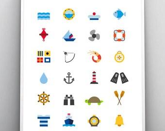 Nautical Print, Marine Poster, Printable Wall Art, Sea Illustration, Large Art Print, Ocean Decoration, Beach House Decor, Digital Download