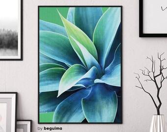 Cactus Print, Photography, Botanical Art, Green Poster, Printable Wall Art, Succulent Photo, Tropical Decor, Blue, Teal, Digital Download