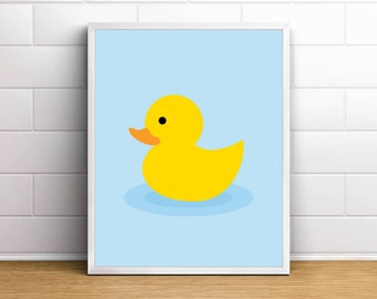Floating Duck, Rubber Duck, Bath Toy Illustration, Bathroom Print, Baby,  Kids, Poster, Printable Wall Art, Bathroom Decor, Digital Download