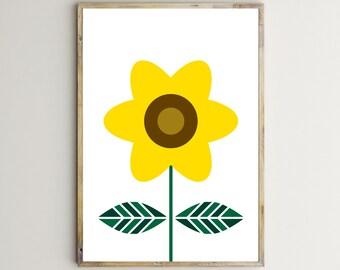 retro flowersabstract flowersunflowerkitchen decorbotanical printshome decorationminimal large posterprintable wall artdownloadable - Sunflower Kitchen Decor