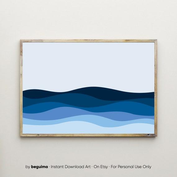 Ocean Waves Gallery Wall Art PRINT Photo Navy Blue Poster Decor