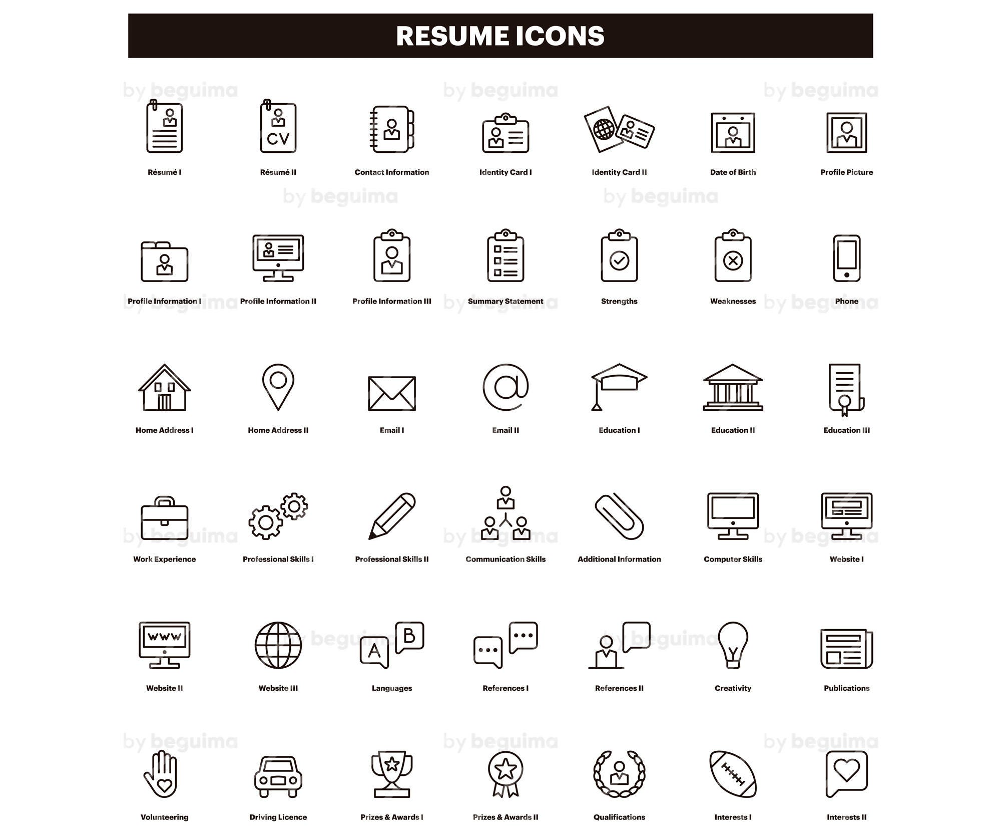 resume icons cv clip art curriculum clipart set of icons