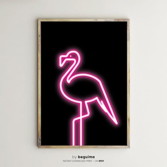 Neon Flamingo Pink Flamingo Neon Lights Sign Large Wall Art Etsy