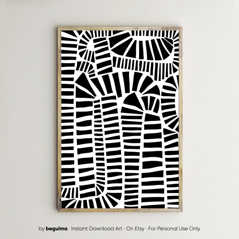 Abstract Wall Art,Black White Art,Set Of 2 Prints,Modern Printable ...