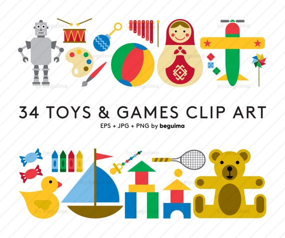 Toy Clip Art Game Clipart Vector Illustration Set Of Icons Etsy