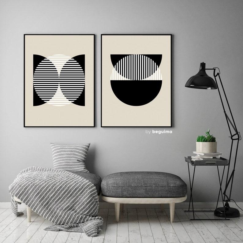Geometric Wall Art,Mid Century Print,Neutral Abstract Art,Set Of 2 Prints,Printable Art,Circle,Stripes,Semicircle,Poster,Beige,Black /& White