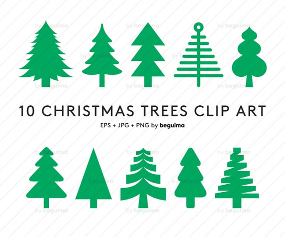 Christmas Tree Icons.Christmas Tree Clip Art Xmas Clipart Vector Files Nature Set Of Icons Iconset Decoration Decor Green Eps Jpg Png Instant Digital Download