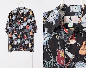 60b6c49f 90's Vintage Mens ELVIS PRESLEY Hawaiian Reyn Spooner Short Sleeve Shirt  Size XL