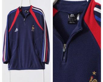 8c54358c5 Vintage Mens ADIDAS FRANCE Football Fleece Pullover Half Zip Jacket Blue  Size XL