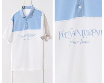 2b240624bd9 90s Vintage Mens Yves Saint Laurent YSL Polo Shirt White Striped Big Logo  Size XL