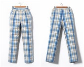 80s Vintage Mens LACOSTE Pants Trousers Checked Blue White Yellow Size 34