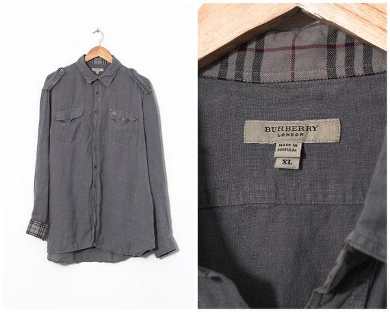 Vintage Mens BURBERRY Linen Long Sleeve Shirt Grey