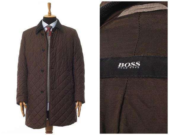Mens HUGO BOSS Quilted Quilt Coat Jacket Brown Siz