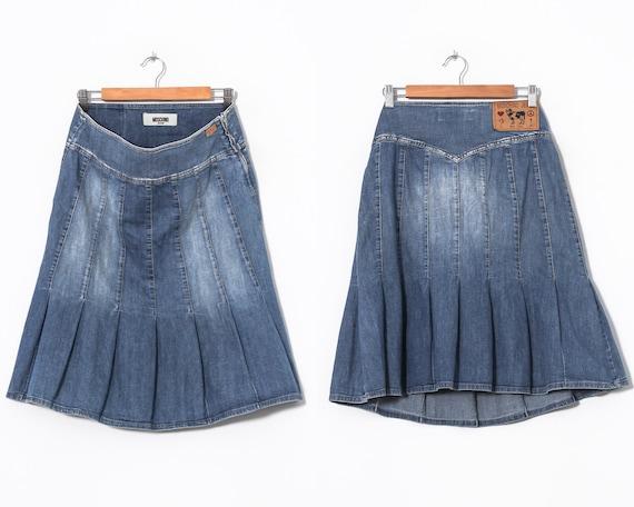 Women's MOSCHINO Jeans Denim Pleated Skirt Blue Si