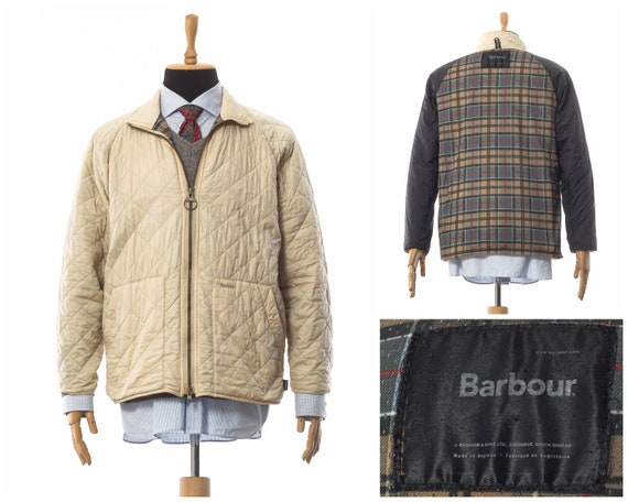 Mens BARBOUR Quilted Quilt Coat Jacket White Size
