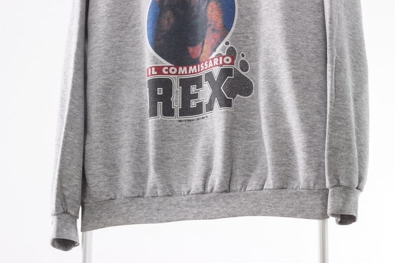 1998 Vintage Men INSPECTOR REX 90s Graphic Sweatshirt Crew Neck Grey Size M