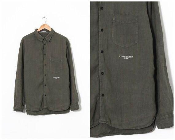 Vintage Mens STONE ISLAND Linen Long Sleeve Shirt