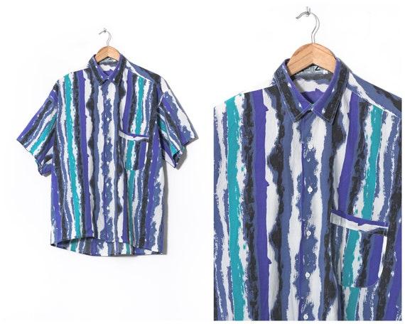 90s Vintage Mens KENZO Shirt Short Sleeve Abstract