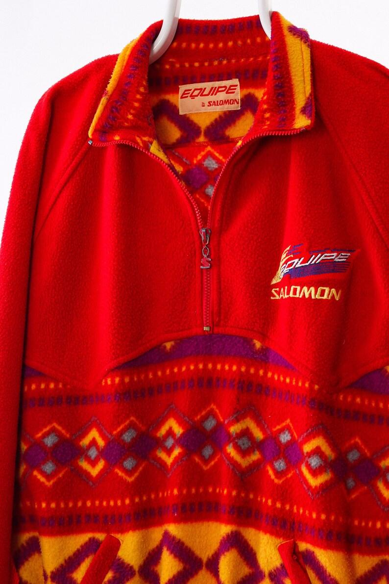 vintage jacket vintage fleece 90s Vintage Men SALOMON Fleece Pullover Half Zip Jacket Aztec Red Size 2XL XXL mens fleece vintage salomon