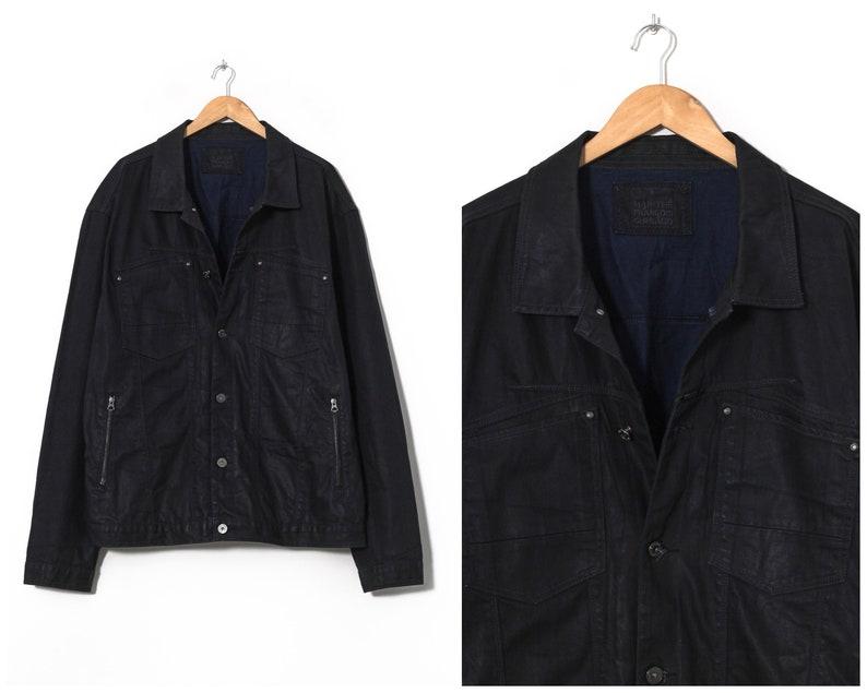 Mens MARITHE FRANCOIS GIRBAUD Denim Jacket Waxed Black Size 3XL