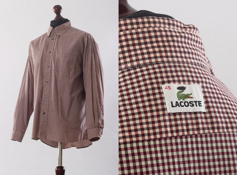 ea739f75e4179 Mens LACOSTE Plaid Check Long Sleeve Casual Shirt Red Size XXL