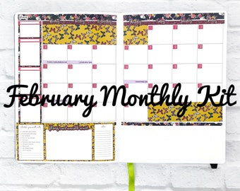February 2019 Monthly Passion Planner Sticker Kit | Passion Planner Classic | Passion Planner Compact | Passion Planner Pro Stickers