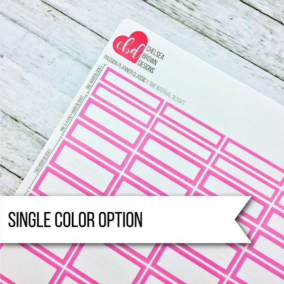 time interval block planner stickers single color option etsy