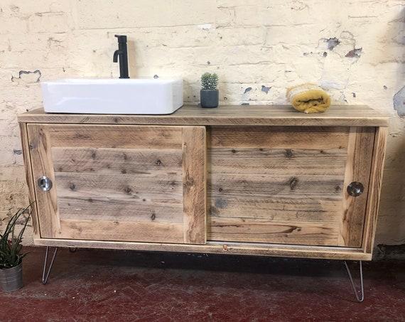 Camden  - Reclaimed Wood Bathroom Vanity Cabinet,  Wooden Bathroom Vanity with Sliding doors