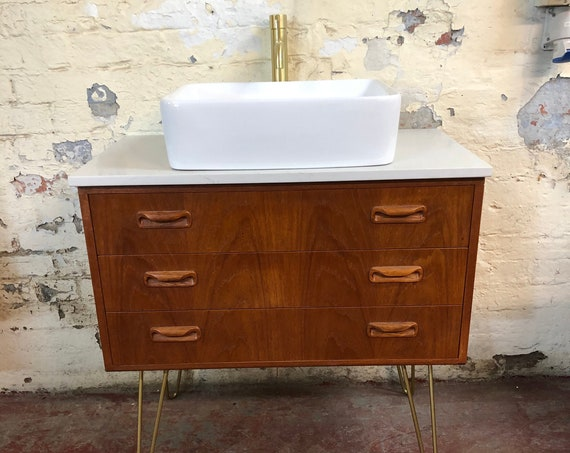 IN STOCK | Gplan  Fresco Bathroom Vanity Including Quartz Worktop | Hair Pin Legs | London Basin