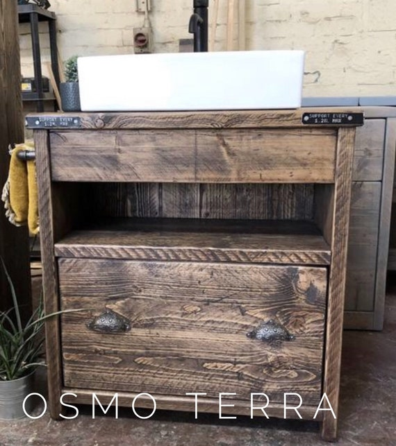 BATTERSEA- Reclaimed Wooden Bathroom Vanity.            Wooden Vanity Bathroom Rustic, Farmhouse Bathroom Vanity Reclaimed Wood