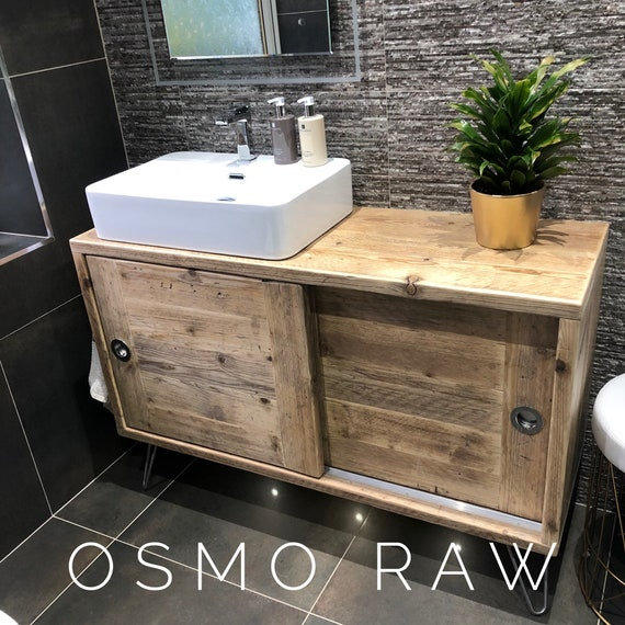 Camden  - Reclaimed Wood Bathroom Vanity Cabinet,  Wooden Bathroom Vanity with Sliding doors