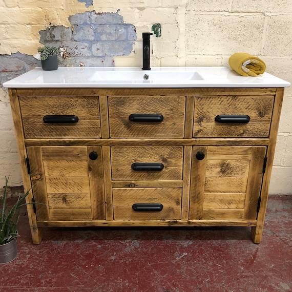 BROADWAY | Reclaimed Timber Bathroom Vanity including Ceramic Basin.
