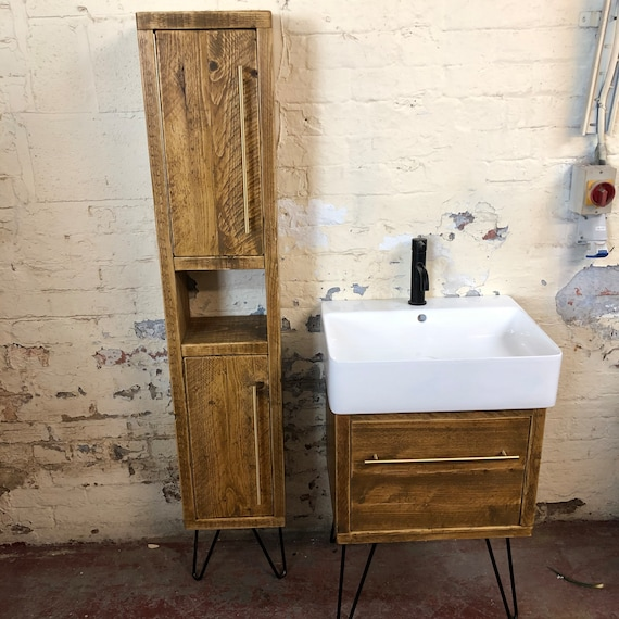 BRENWOOD | Reclaimed Timber Tall Wooden Unit | Hairpin Legs