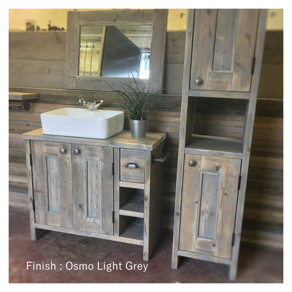 Benllech - Reclaimed Wood tall Vanity, Wood Bathroom Vanity Cabinet, Bathroom Vanity Rustic, Rustic Bathroom Vanity