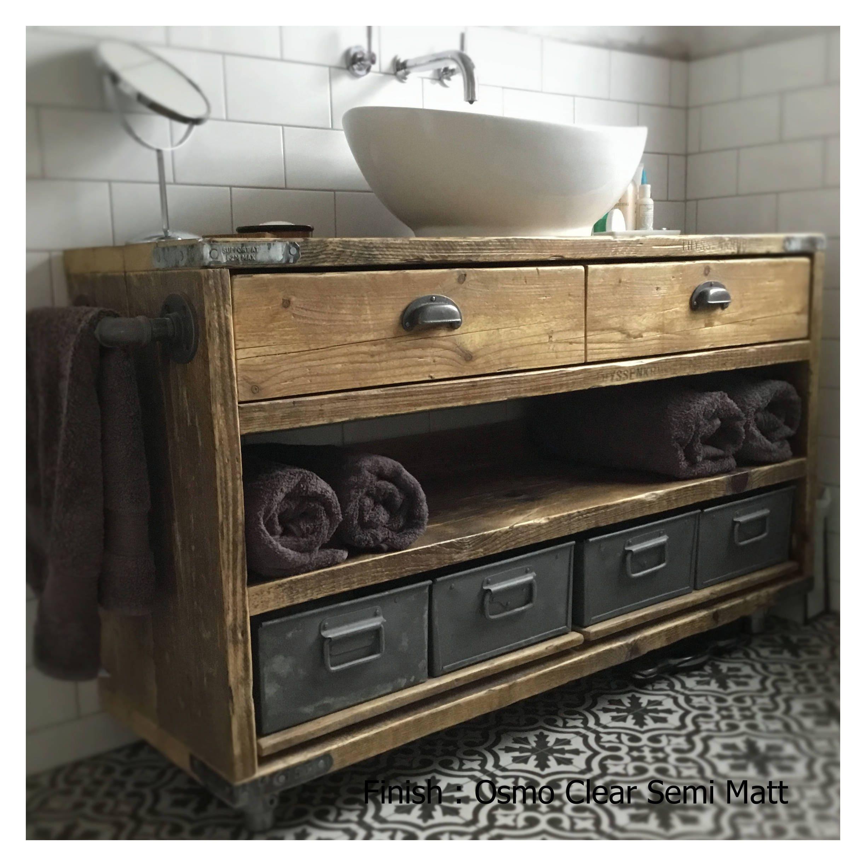 Dulwich Industrial Reclaimed Timber Bathroom Vanity Unit