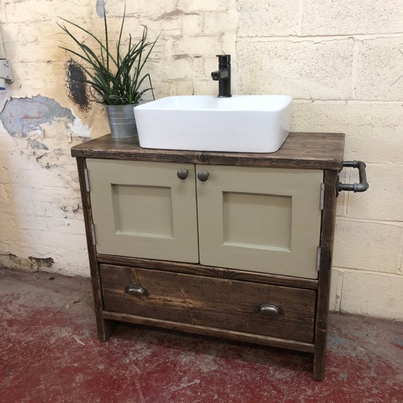 HEXHAM PAINTED-Reclaimed Wood Vanity Bathroom, Wood Bathroom Vanity Cabinet, Bathroom Vanity Rustic, Rustic Bathroom Vanity