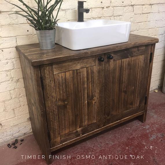 YORK-Reclaimed Wood Vanity Bathroom, Wood Bathroom Vanity Cabinet, Bathroom Vanity Rustic, Rustic Bathroom Vanity with Barn style Doors