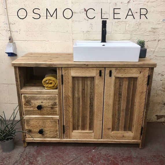 EDINBURGH -Reclaimed Wood Bathroom Vanity, Wood Farmhouse Bathroom Vanity for Sink, Rustic Wood Bathroom Vanity with Drawers Wash Stand