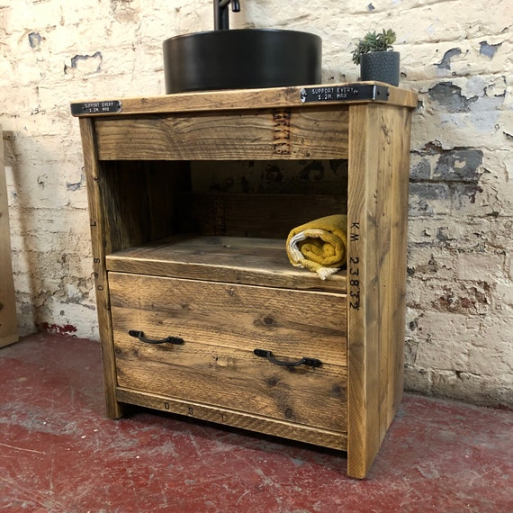 IN STOCK   BATTERSEA   Reclaimed Timber Bathroom Vanity Unit.