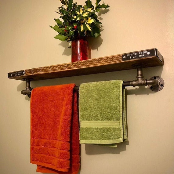 IRON | Reclaimed Timber Shelf With Towel Rail