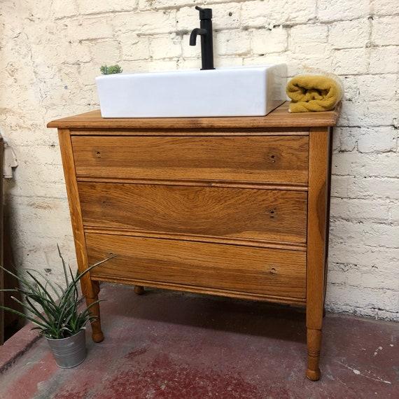 SOLD Vintage Oak Bathroom Vanity   Oak Vanity   Vintage Vanity  