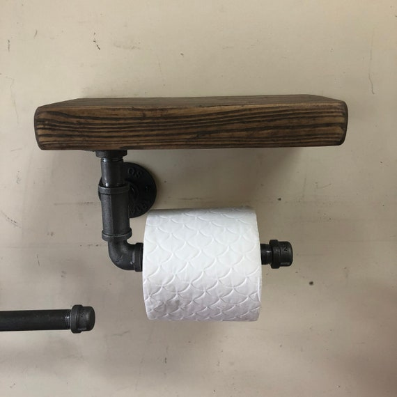 Iron - Industrial Toilet Roll Holder with or without Shelf
