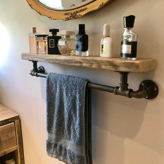 Iron : Timber Shelf with Towel rail