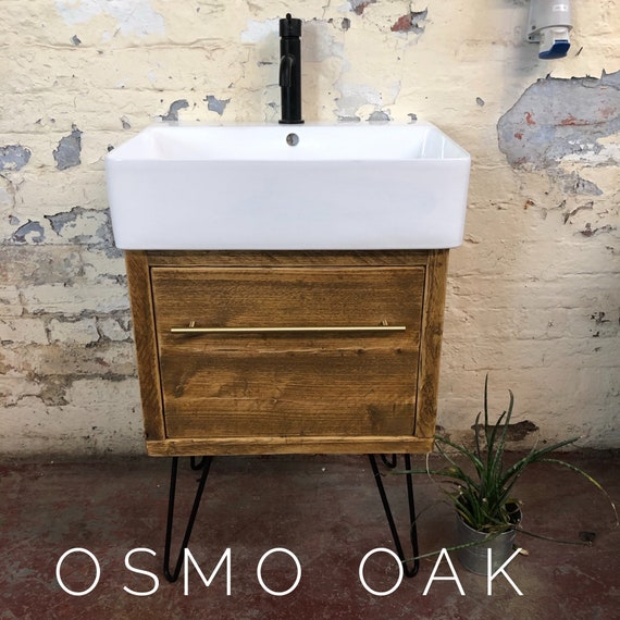 BRENTWOOD | Reclaimed Timber Bathroom Vanity Including Exeter Basin &  Hairpin Legs