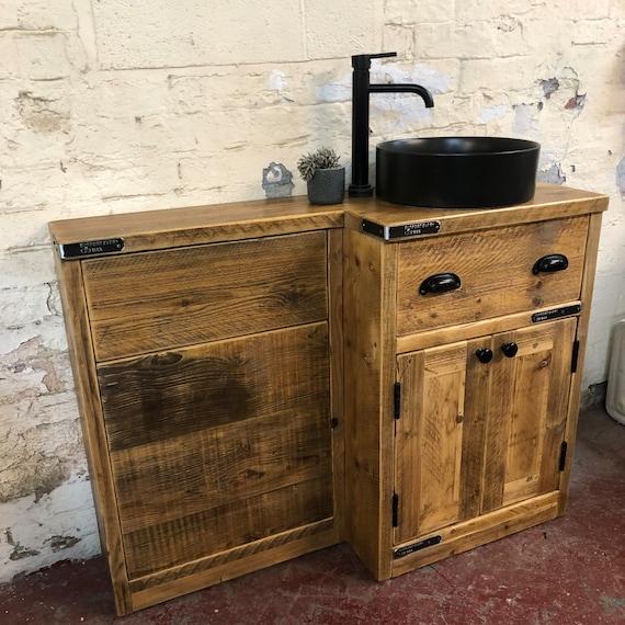 HEXHAM | Combination Unit Reclaimed Timber Basin & Toilet Unit