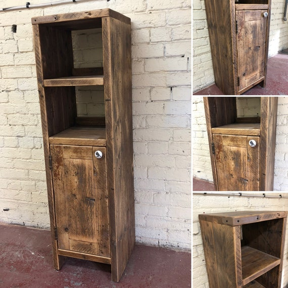 Bath-Reclaimed Tall Wooden Vanity Unit.              Bathroom, Wood Bathroom Vanity Cabinet, Bathroom Vanity Rustic, Rustic Bathroom Vanity
