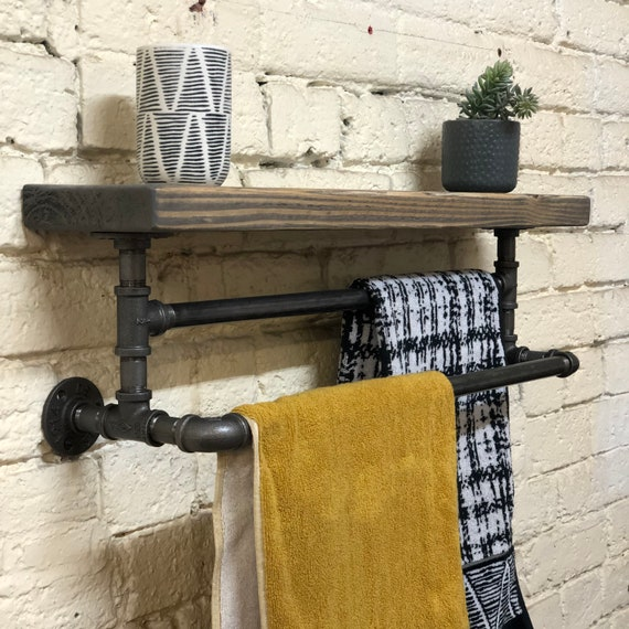 Iron : Timber Shelf with Double Towel rail